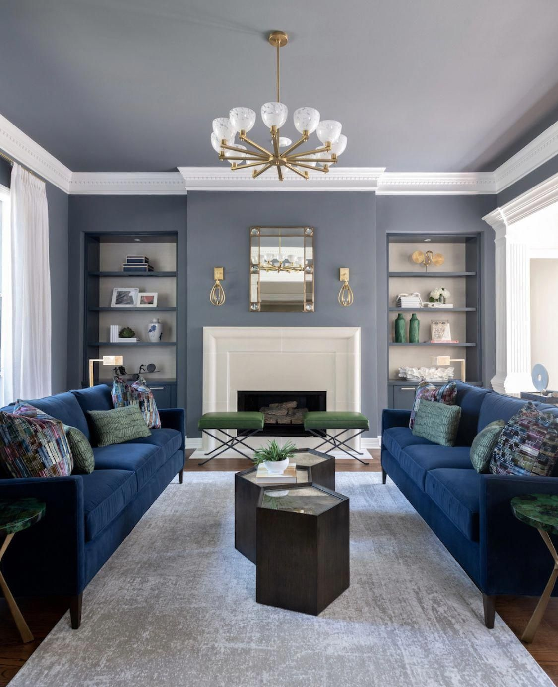 Traditional Style Grey And Blue Living Room Decor With Blue Velvet Sofas Blue Sofas Living Room Blue Living Room Decor Living Room Decor Gray