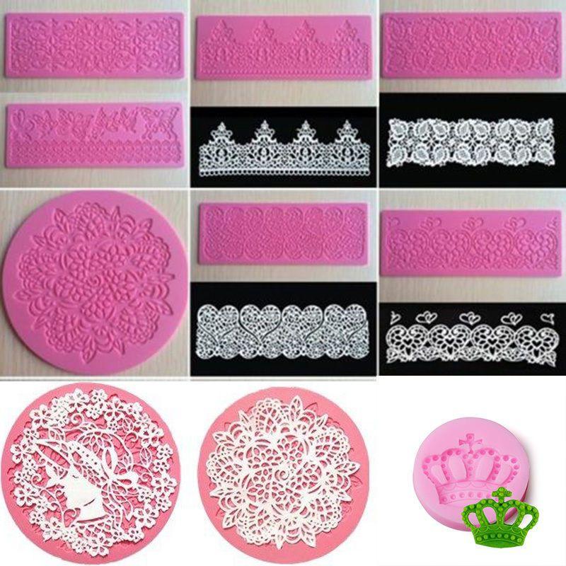 DIY Lace Mold Silicone Fondant Mould Cake Decor Sugar Mat Baking Tool WE