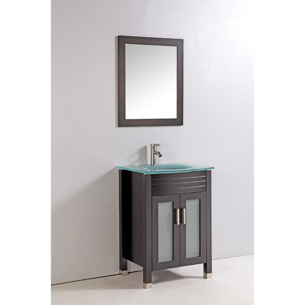 24 Mirrored Bathroom Vanity tempered glass top 24-inch single sink bathroom vanity with mirror