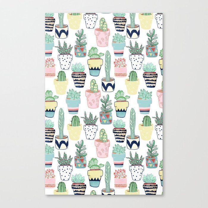 Cute Cacti In Pots Canvas Print by Tangerine-tane - Medium