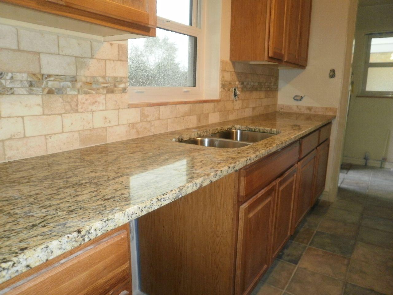 Tile Backsplash Granite Countertop Oak Colored Cupboards
