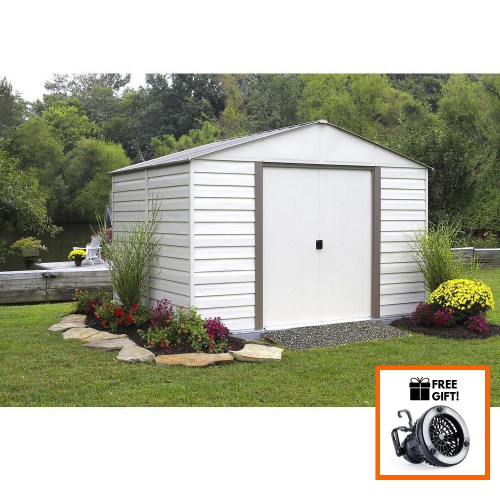 Arrow Milford 10x12 Vinyl Coated Steel Storage Shed Building With Sliding Doors Tuff Nest Steel Storage Sheds Shed Building A Shed
