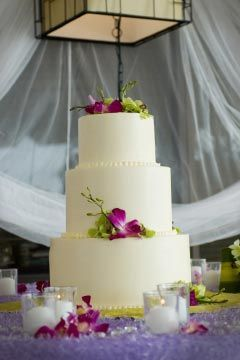 Buttercream Frosting Wedding Cake With Flowers