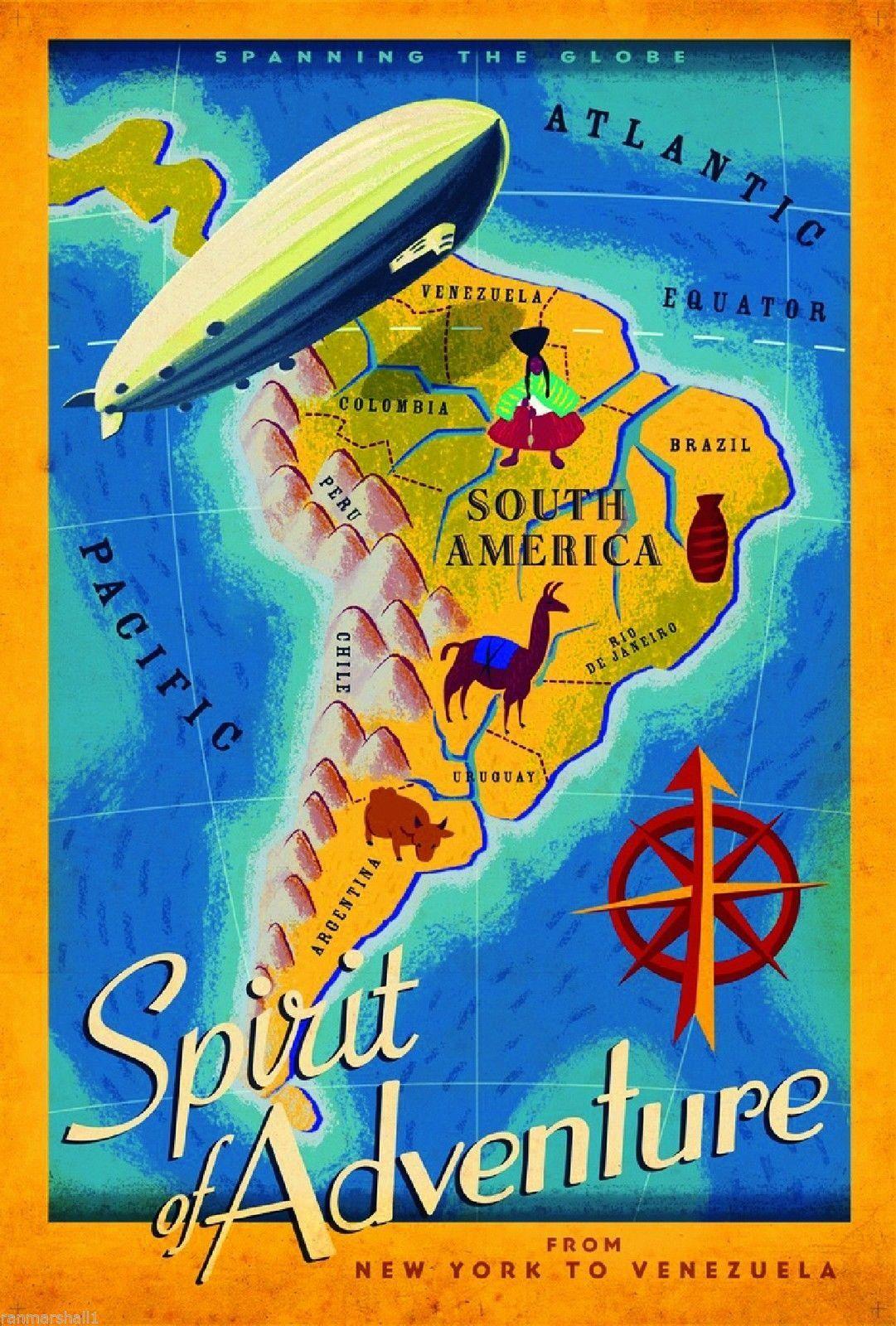 New york to venezuela south america vintage