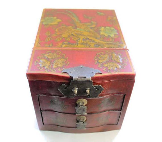 Asian Jewelry Box With Folding Mirror Maroon Red Lacquer Vintage
