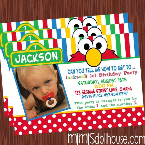 Elmo Birthday Invitations Sesame Street Bebe Party 1st