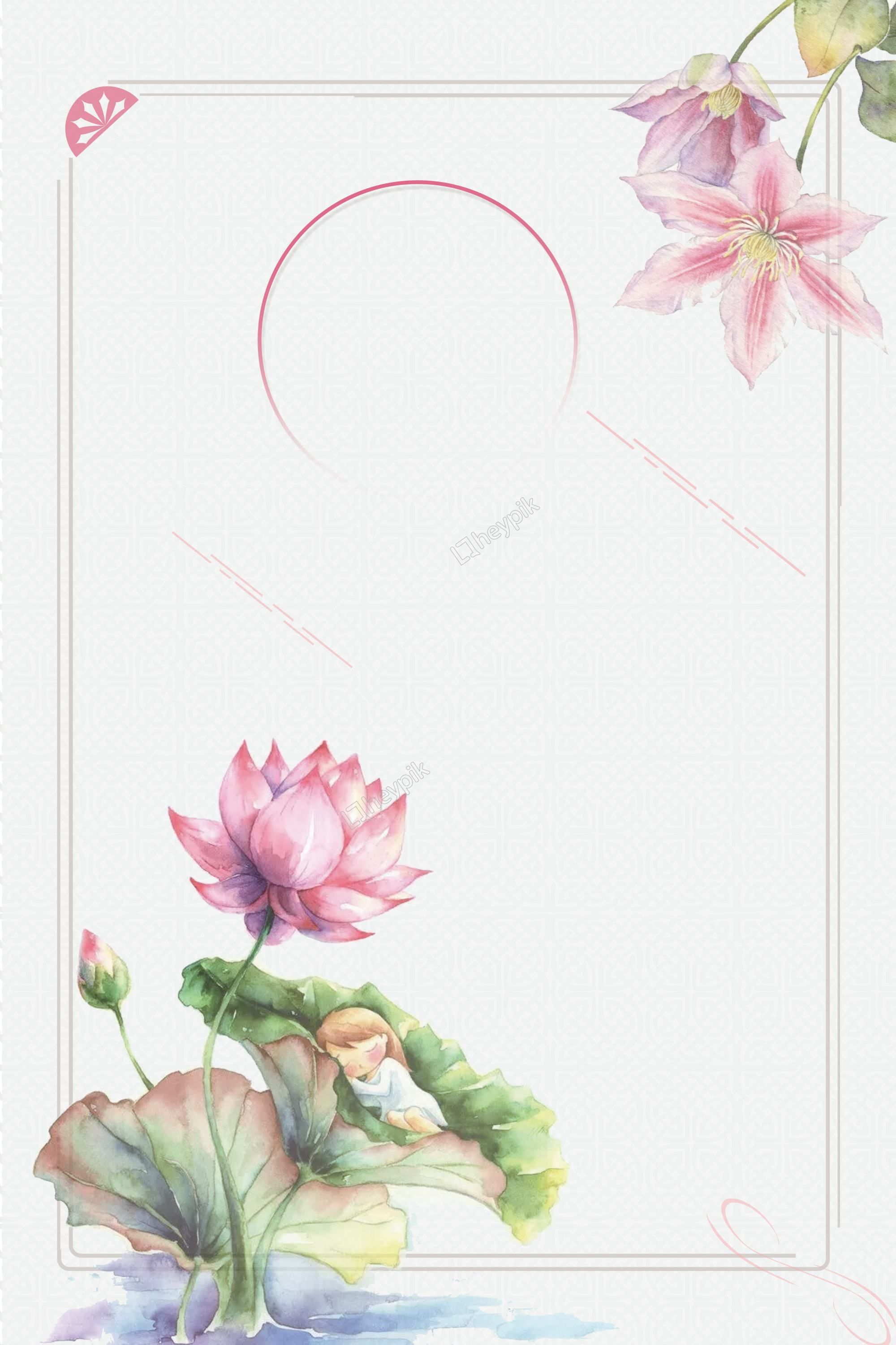 Ancient Style Painted Lotus Border Poster Background Design Hd