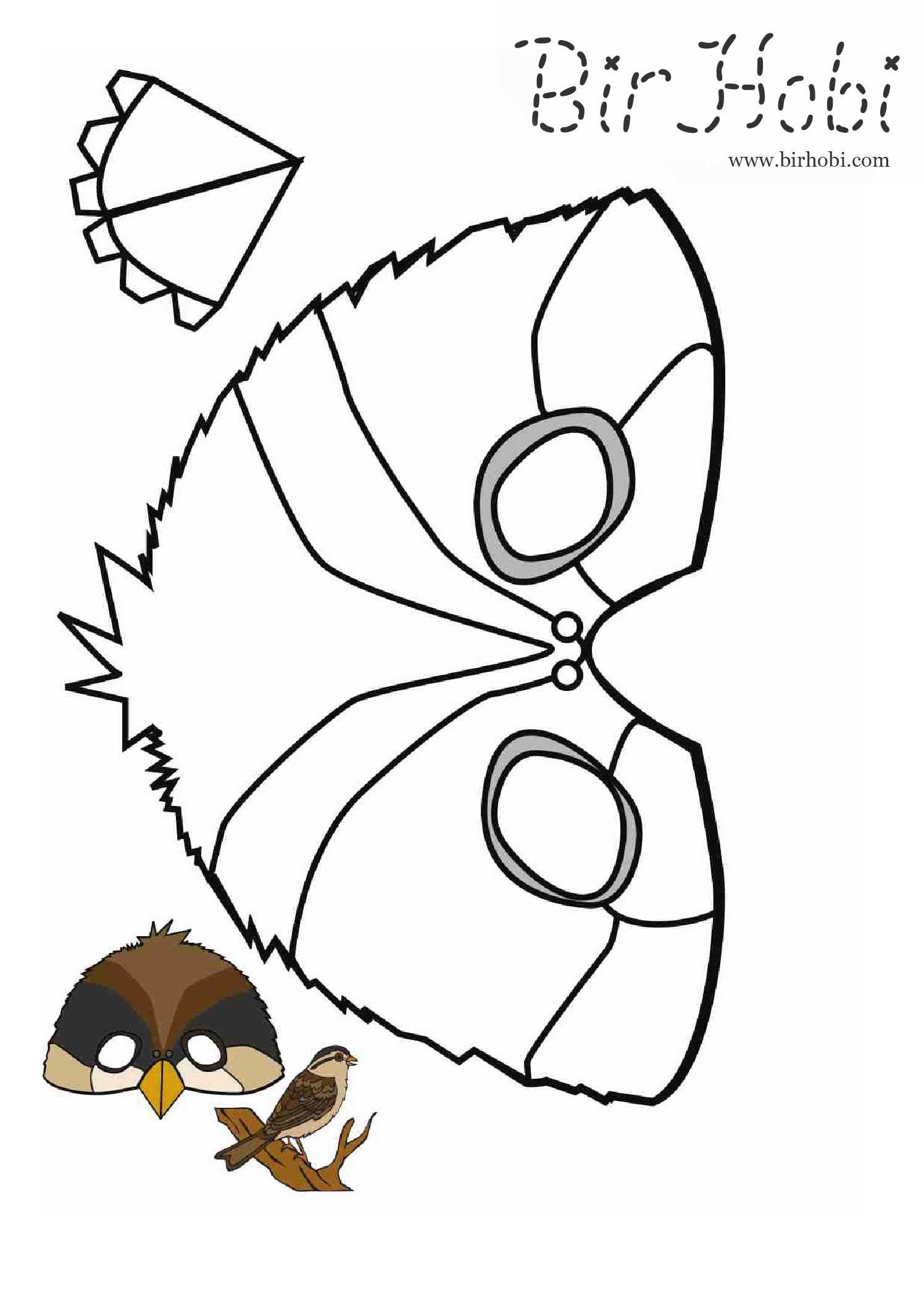 Karton Maske şablonları Kuş Denenecek Projeler Printable Masks