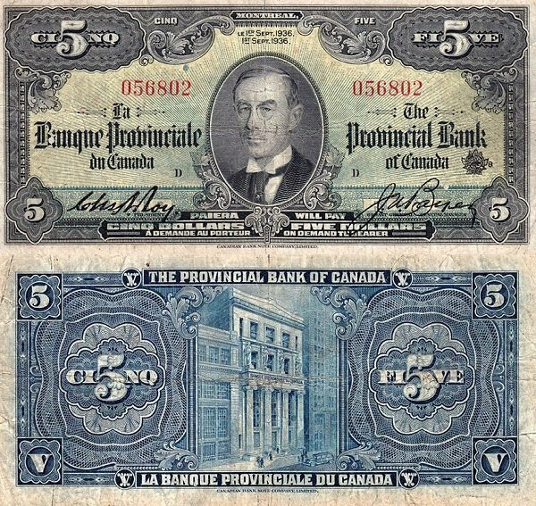 5 Dollars Canada S Banknotepick S921a Date 1936 Bank Notes Banknotes Money Paper Currency