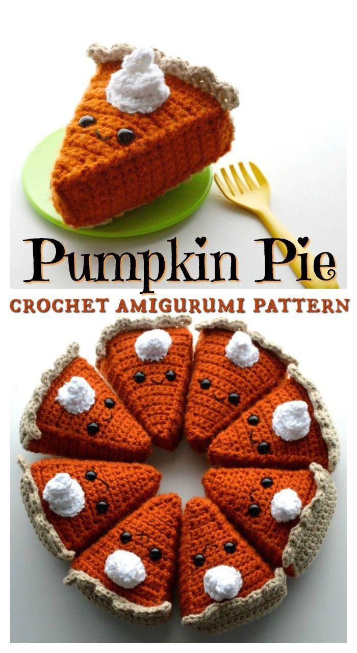 I love this sweet little pumpkin pie amigurumi crochet pattern! Kawaii crochet i... I love this swe