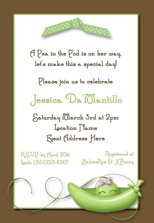 Sweet Pea in the Pod Baby Shower Invitation A Baby Shower for