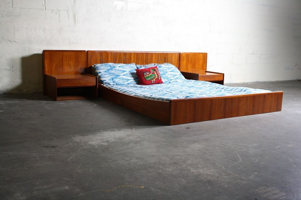 Danish Mid Century Modern Teak Queen Bed Frame Floating