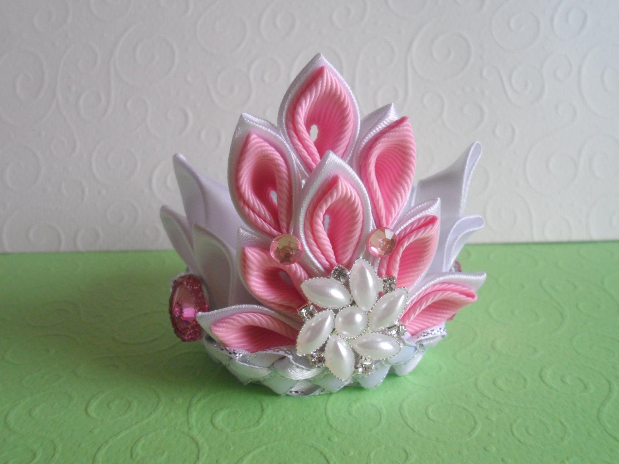 Beautiful kanzashi-crown: a master class for beginners