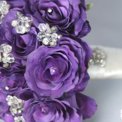 Cadbury S Purple Is Such An Ont Colour For Your Wedding And Will Look Fabulous In Photos Beautiful Silk Roses Full Of Silver Sparkling