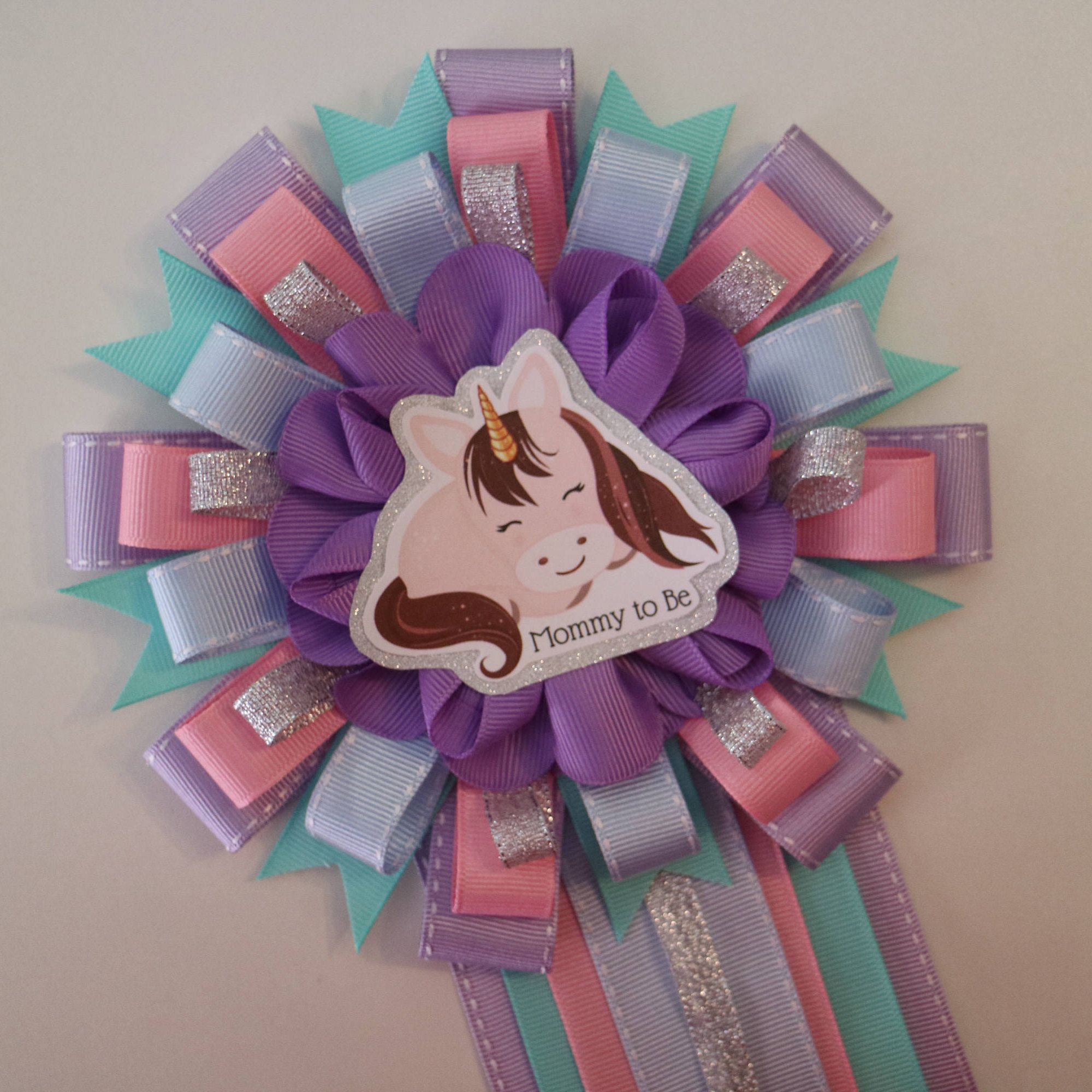 Baby Unicorn In Silver Baby Shower Mommy To Be Corsage By