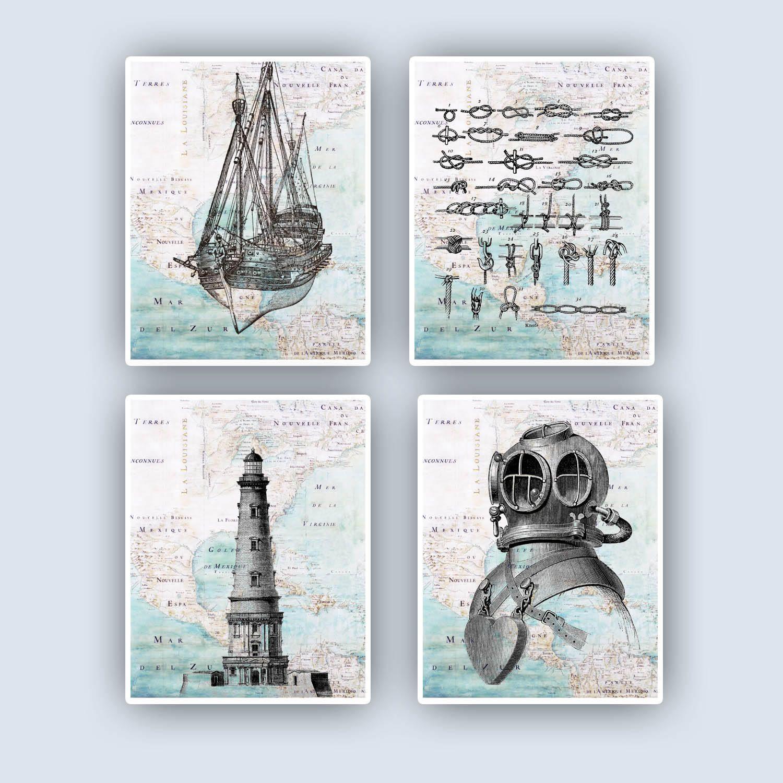 Nautical Art Sailing Decoration Diving Scuba Helmet Lighthouse Sailors Knots Coastal Decor Beach Sailors Gift S Nautical Art Sailing Decor Sailing Gifts