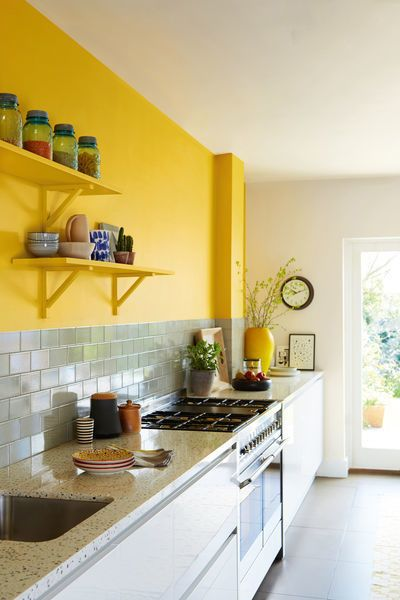 Give Your Kitchen Some Flavour With A Dollop Of Yellow Honey Mustard Above Your Countertop Soften The State Yellow Kitchen Walls Kitchen Colors Yellow Kitchen