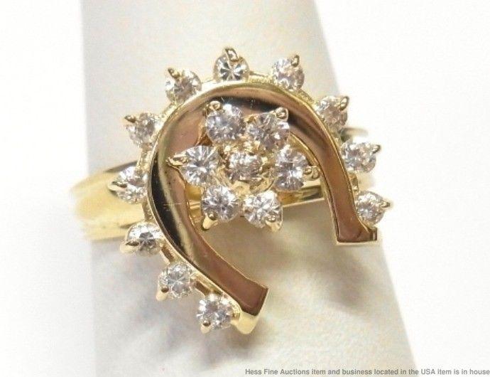 Vintage Horse Shoe Spinner Solid Gold CZ Ring Good Luck Motion Swinger Size  6.75 | eBay