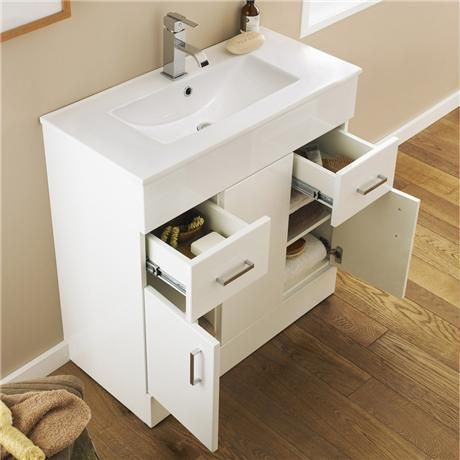 Turin Vanity Sink With Cabinet 1000mm Modern High Gloss White At