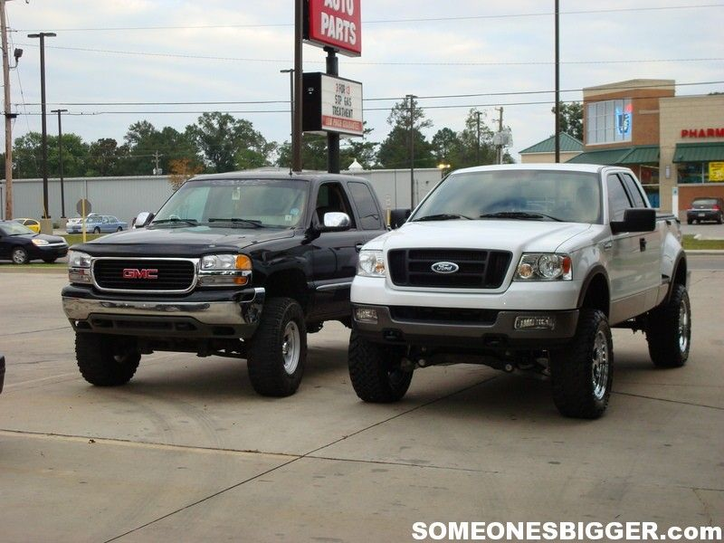 Ford lifted F150 trucks with lifted GMC truck  GMC Trucks