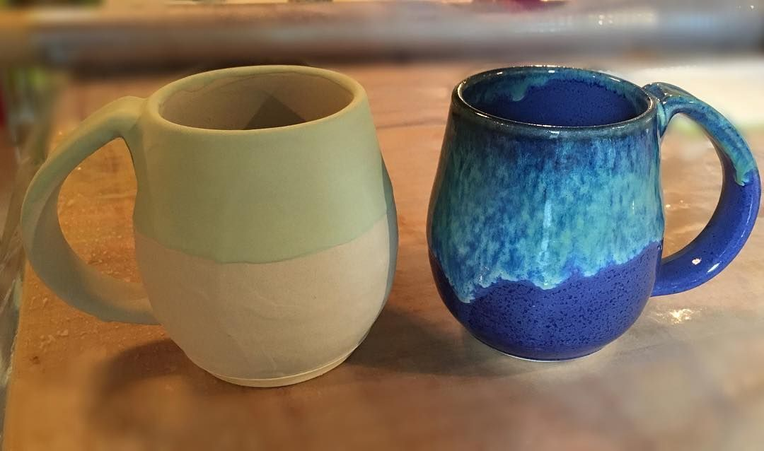 Before And After The Glaze Firing The Mug On The Left Is Glazed Exactly The Same As The Mug On The Right When Firing The Artisan Pottery Pottery Mugs Pottery