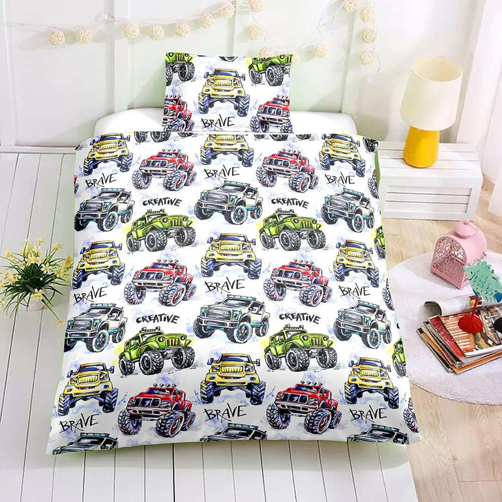 Colorful Car King Size Bedding Set 3D Printed Creative