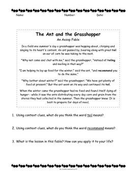 picture relating to The Ant and the Grasshopper Story Printable known as The Ant and the Grhopper (Aesop) vs. A Insects Existence - Fable