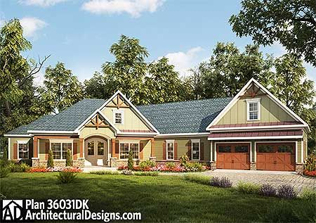 plan 36031dk: craftsman house plan with angled garage | craftsman