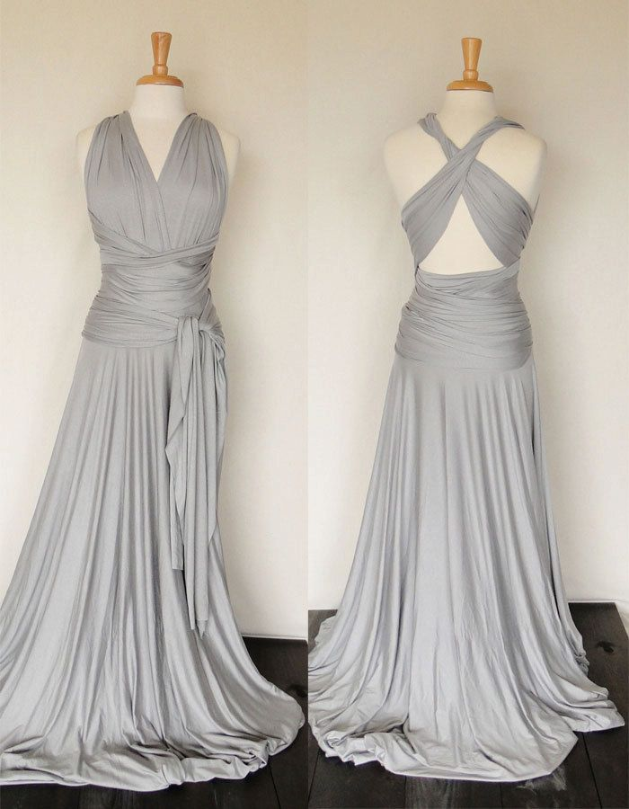 1d5383fe Convertible Infinity Dress in light grey, Floor length dress, Formal Gown.  I could totally make this! I am not a huge fan of the infinity dress I  already ...