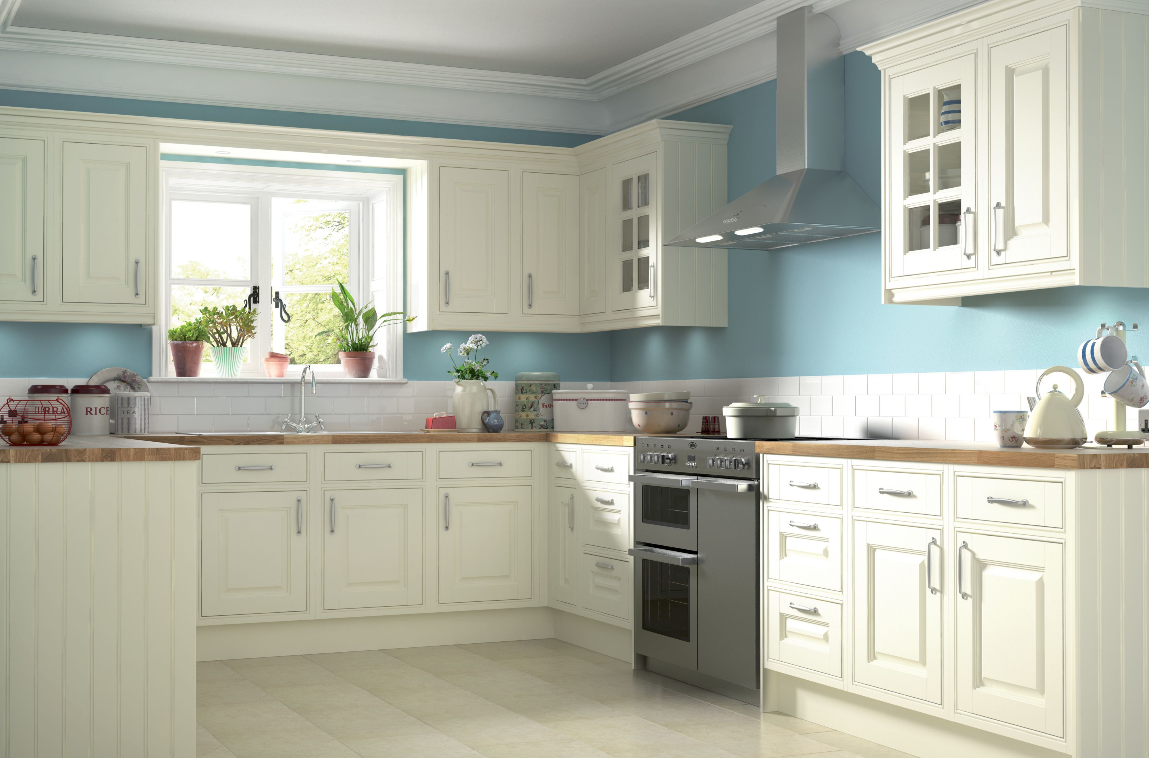 LOVE this! the Classic Cream kitchen - blue, white, wood country ...