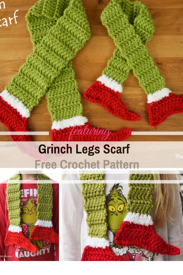Grinch Legs Scarf Free Crochet Pattern #grinchscarfcrochetpatternfree