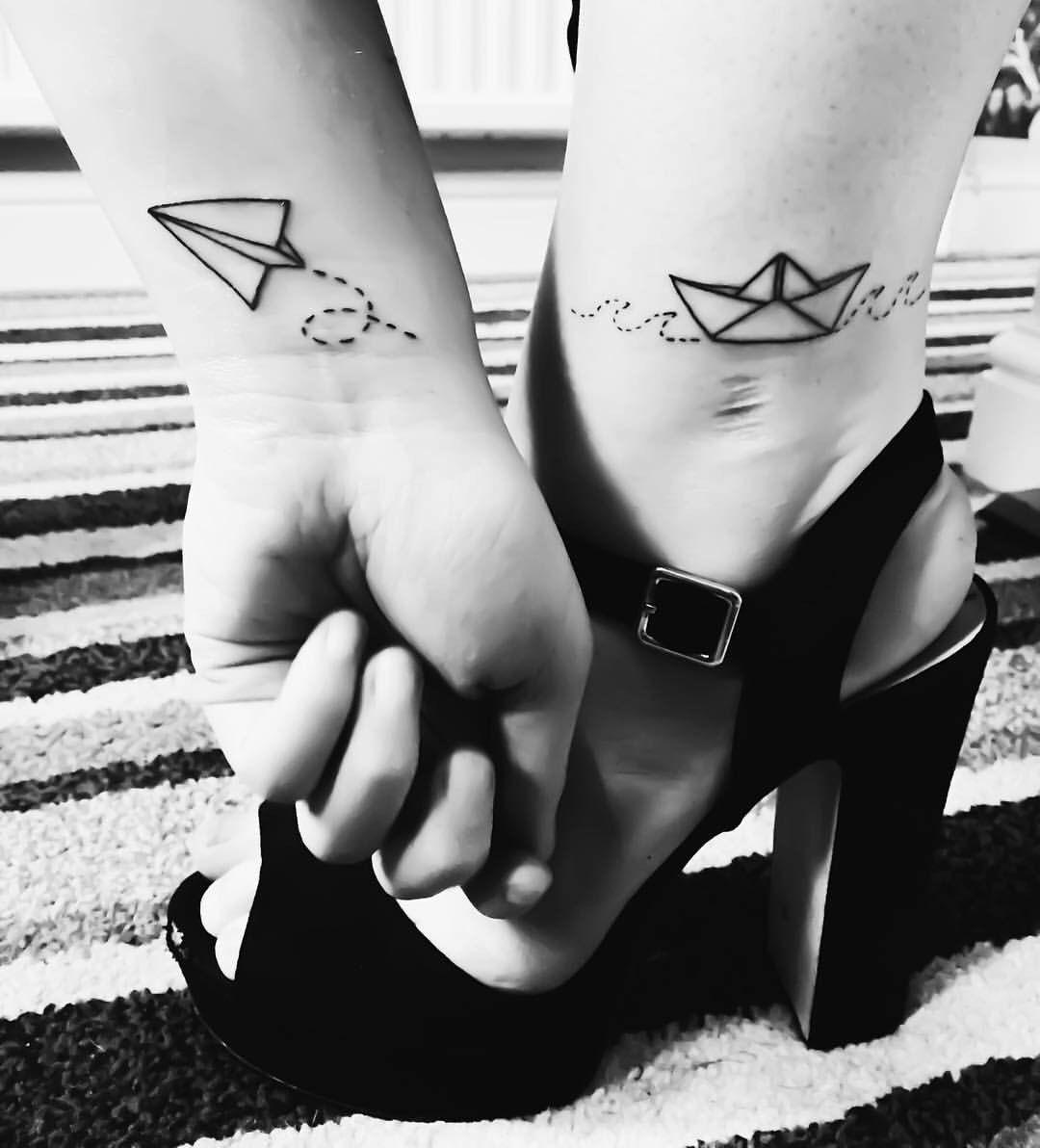 #tattoo #matchingtattoos #paperplane #paperboat #boattattoo #planetattoo