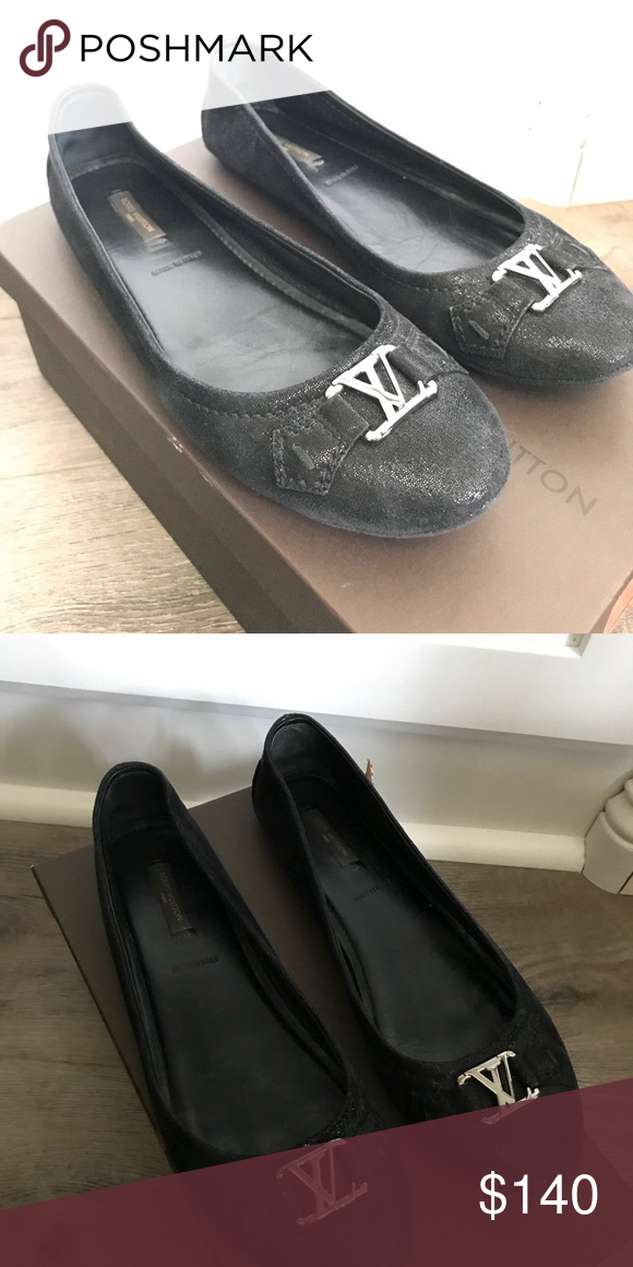 9149642875d5 LOUIS VUITTON BLACK ballerinas Used suede ballerina Louis Vuitton Shoes  Flats   Loafers