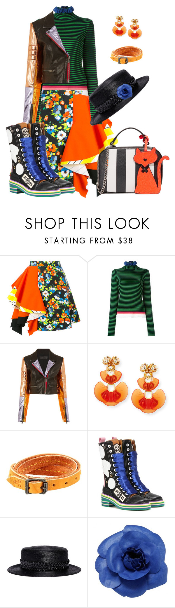 """Think Funky"" by glamourgrammy ❤ liked on Polyvore featuring MSGM, Haider Ackermann, Lele Sadoughi, Frye, Maison Margiela, Gigi Burris Millinery, Chanel and Milly"