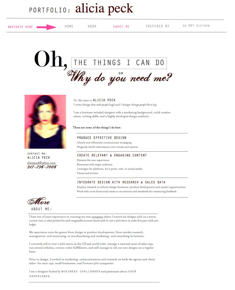 """""""About Me"""" page from my personal website. Writing skills"""