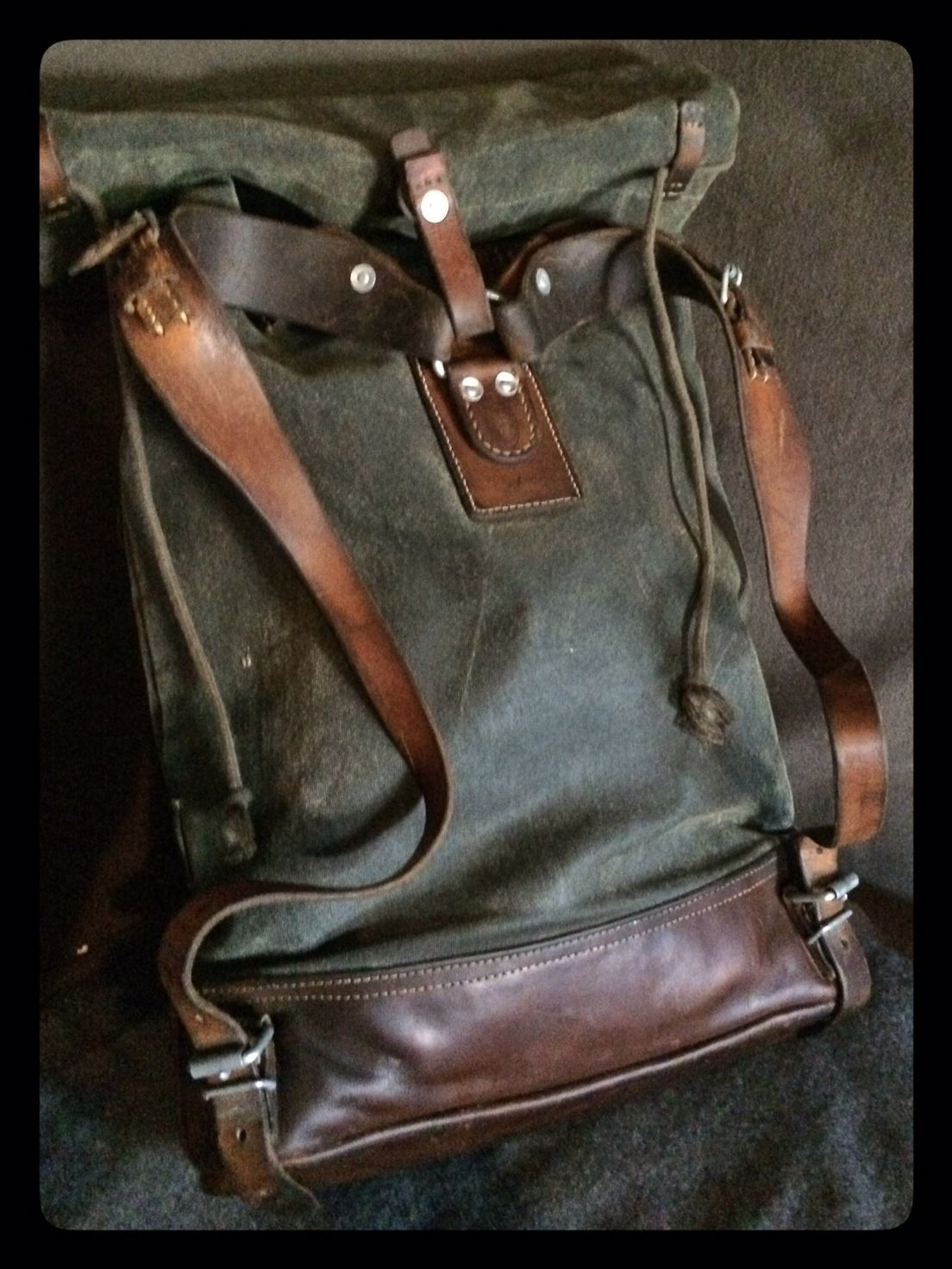 Vintage Swiss Army Canvas Amp Leather Roll Top Rucksack