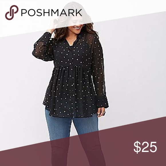 6eac146d449 Lane Bryant Star ⭐ Patterned Top - Plus Size Size 26 28 Sheer babydoll Top  with star pattern. Lane Bryant Tops Blouses