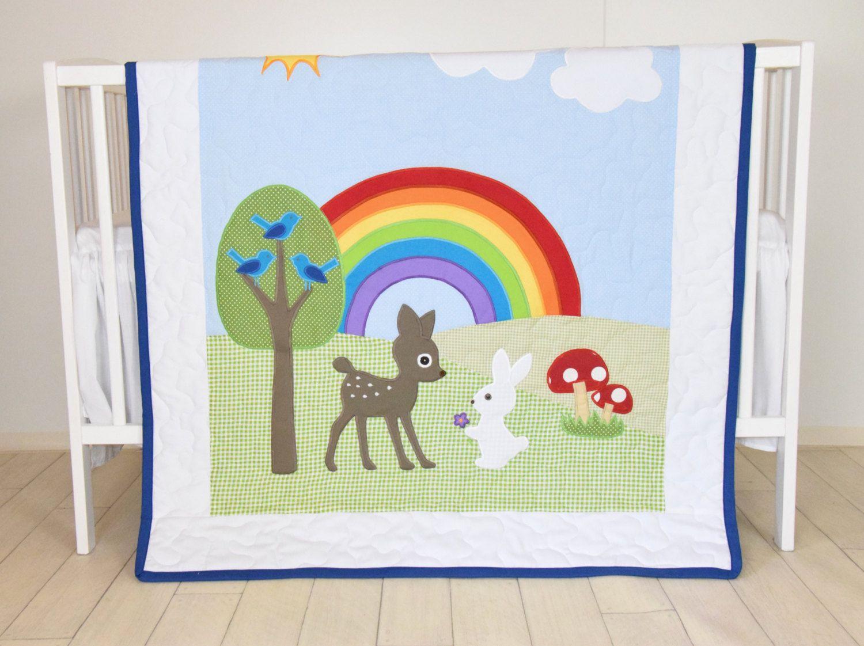 Rainbow Baby Blanket Boy Or Crib Bedding Forest Nursery Quilt Cute Bunny Fawn