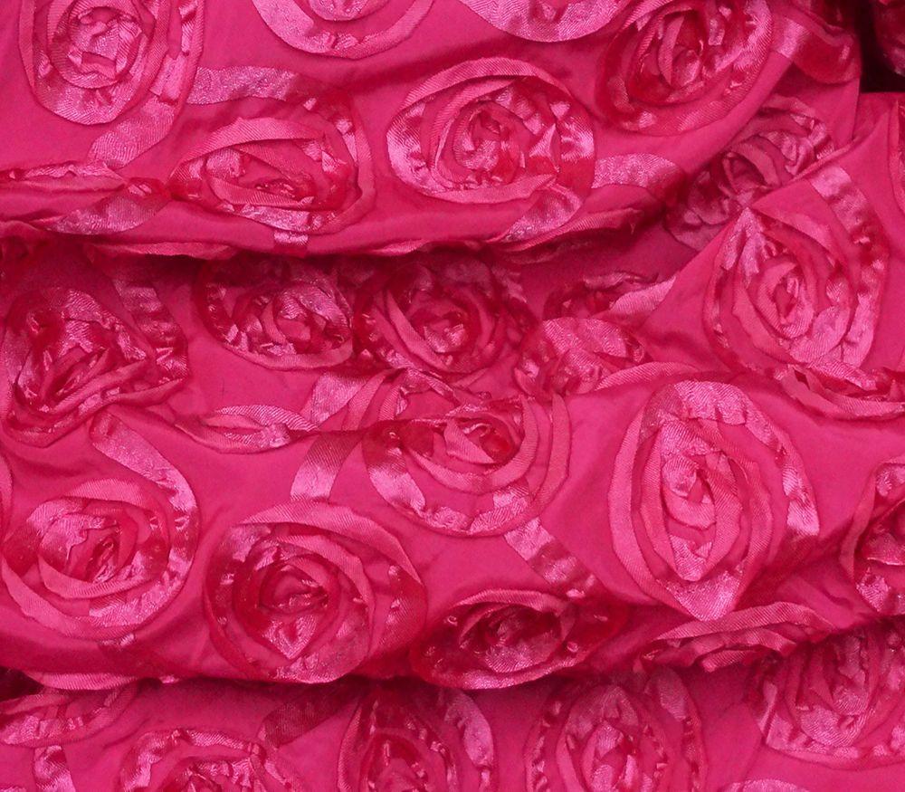 3D FLORAL ROSES HOT PINK Satin Fabric Wedding DRESS DRAPE TABLECLOTH DECOR