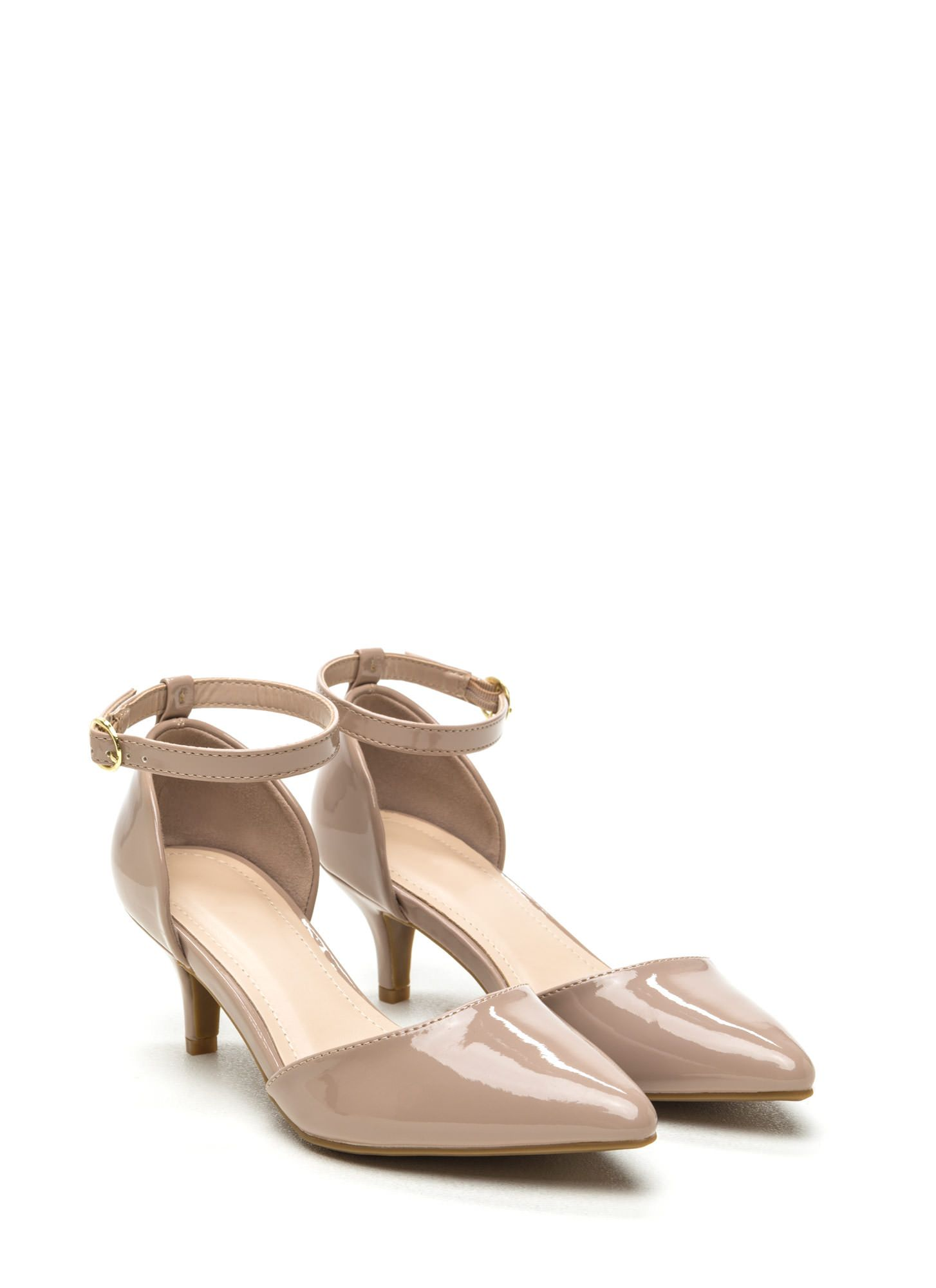 6a6c3c858c6 Point Person Faux Patent Kitten Heels NUDE. 2.25 inches high. | Low ...