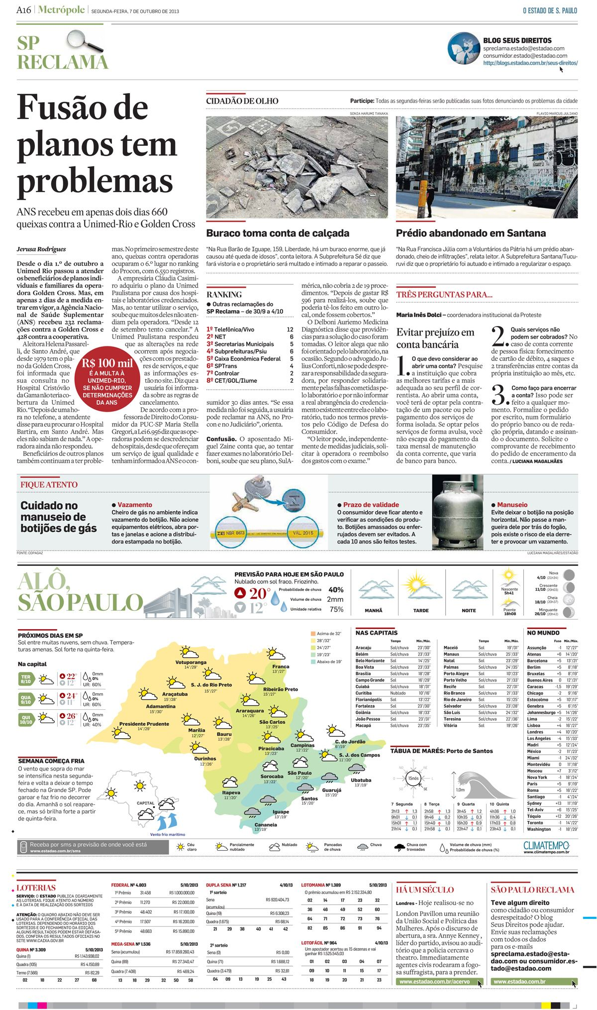 Título: Cuidado no manuseio de botijões de gás; Veículo: O Estado de S. Paulo - Jornal do Carro; Data: 7/10/2013; Cliente: Copagaz.