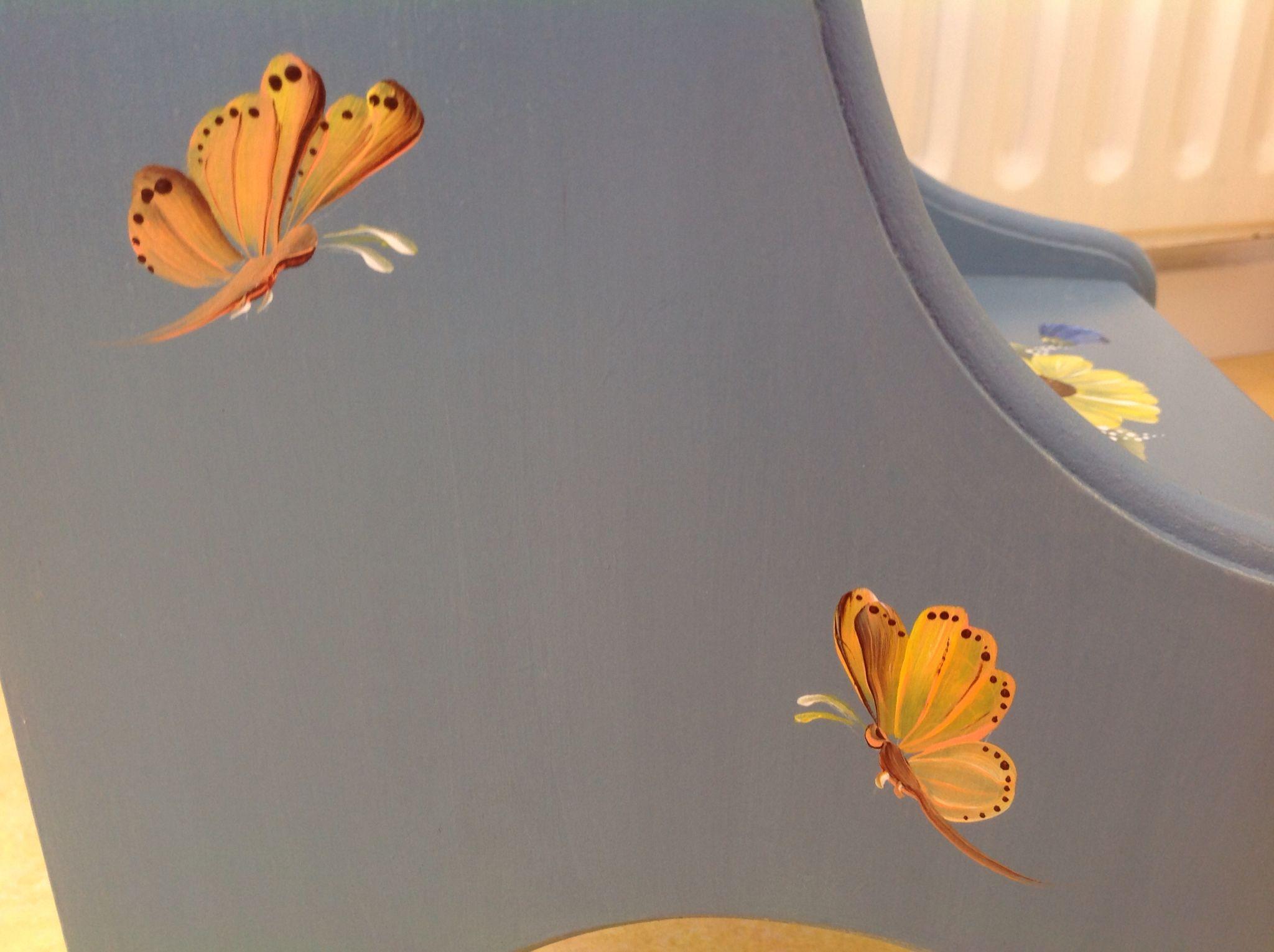 Oudhollands trapje, detail vlinders