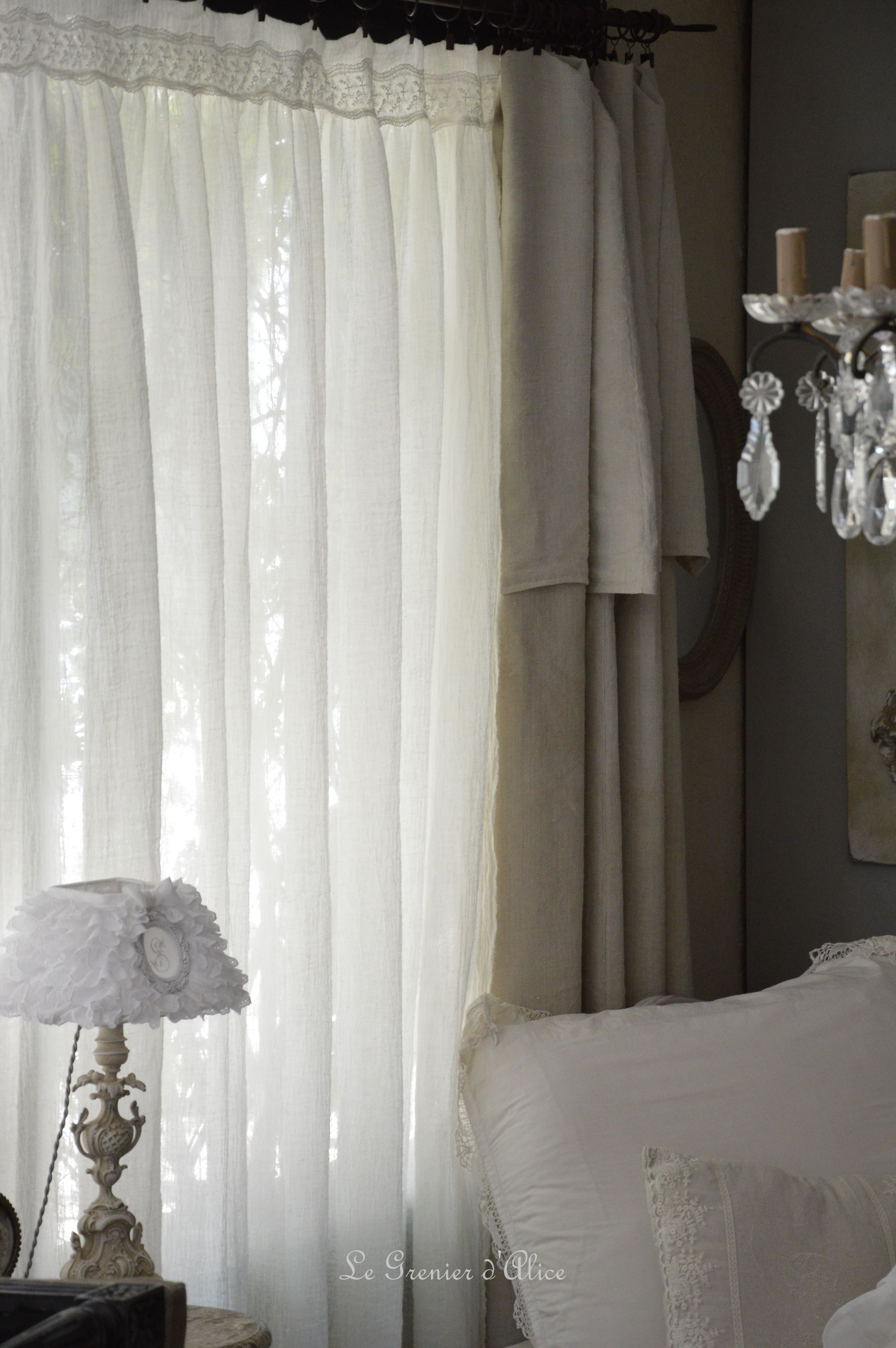 rideau voile de lin shabby chic romantique dentelle shabby and romantic curtain romantique. Black Bedroom Furniture Sets. Home Design Ideas
