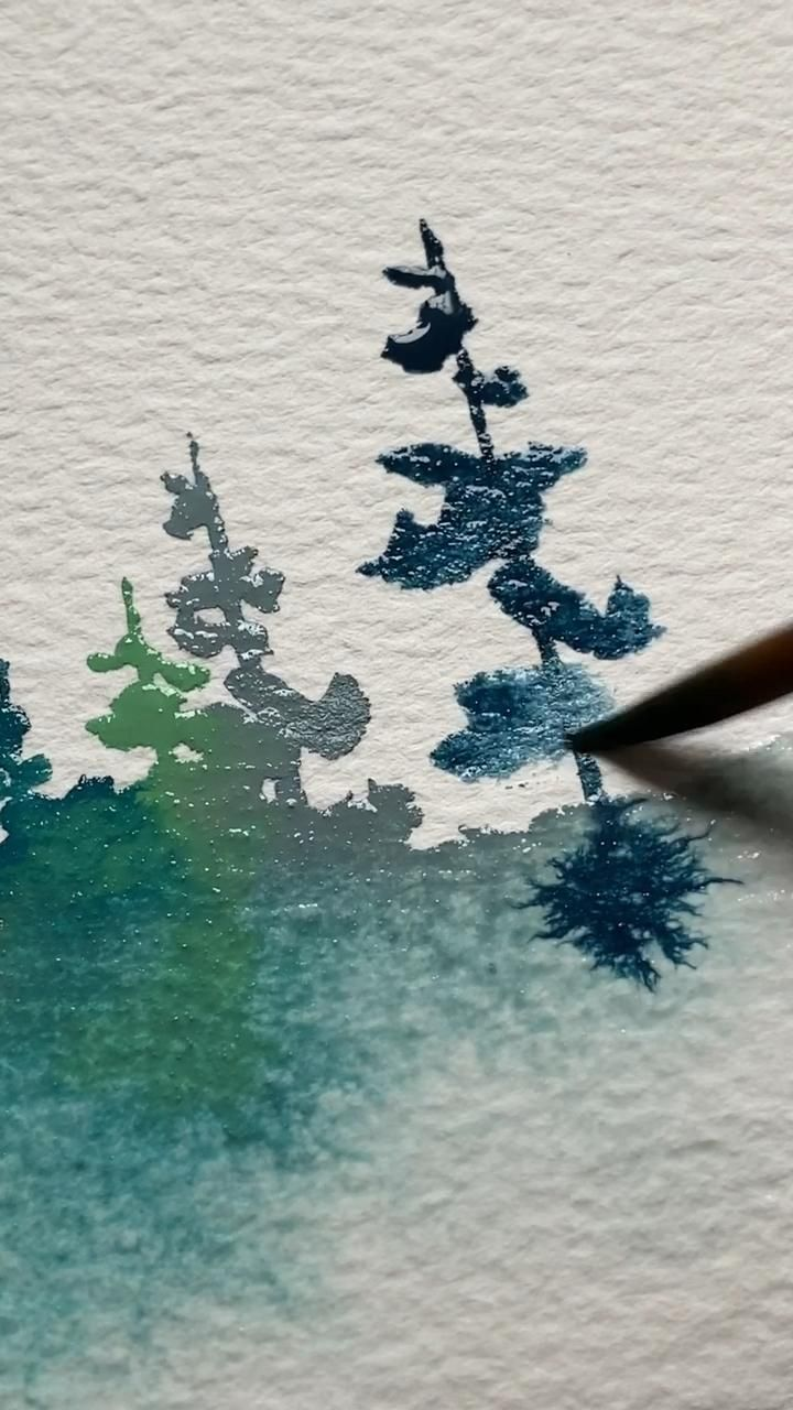 Watercolor pines