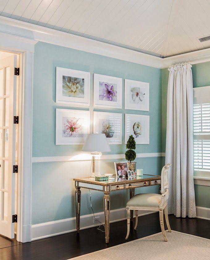 Recanto perfeito - parede pintada com um friso a dar mais textura