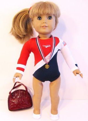"USA Olympics Gymnastics fits 18/"" American Girl Dolls COMPLETE 6 Piece Set !"
