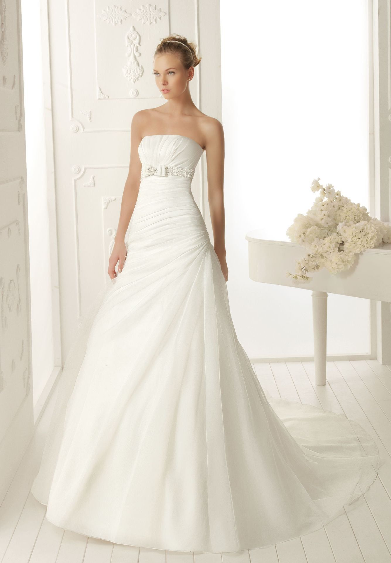 Chiffon Strapless A Line Simple Wedding Dress With