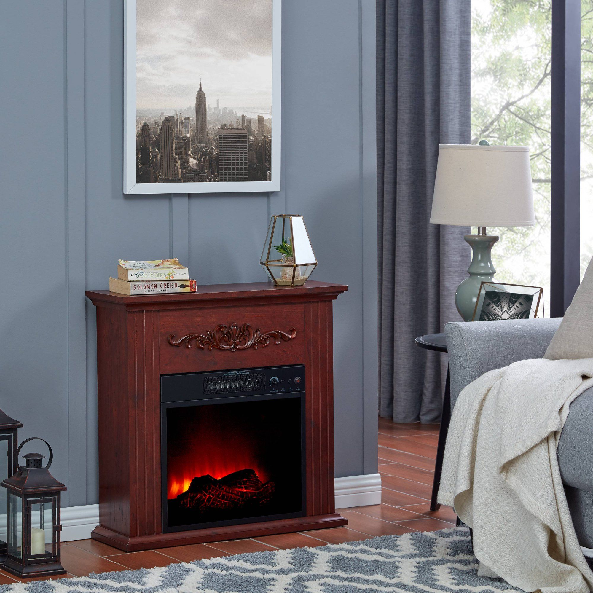Bold Flame 28 Inch Electric Fireplace Heater Chestnut Walmart Com Small Apartment Room Electric Fireplace Electric Fireplace Heater