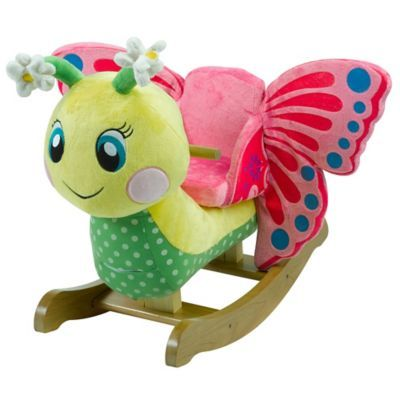 Petals the Fawn Rocker Plush Butterfly Baby Toy Wooden Rocking Chiar Horse