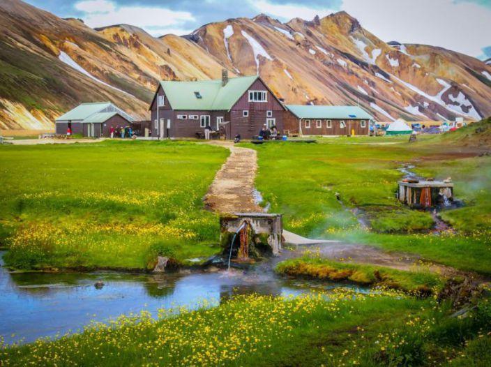 Scenic stream behind the ranger hut/cooking area at Landmannalaugar